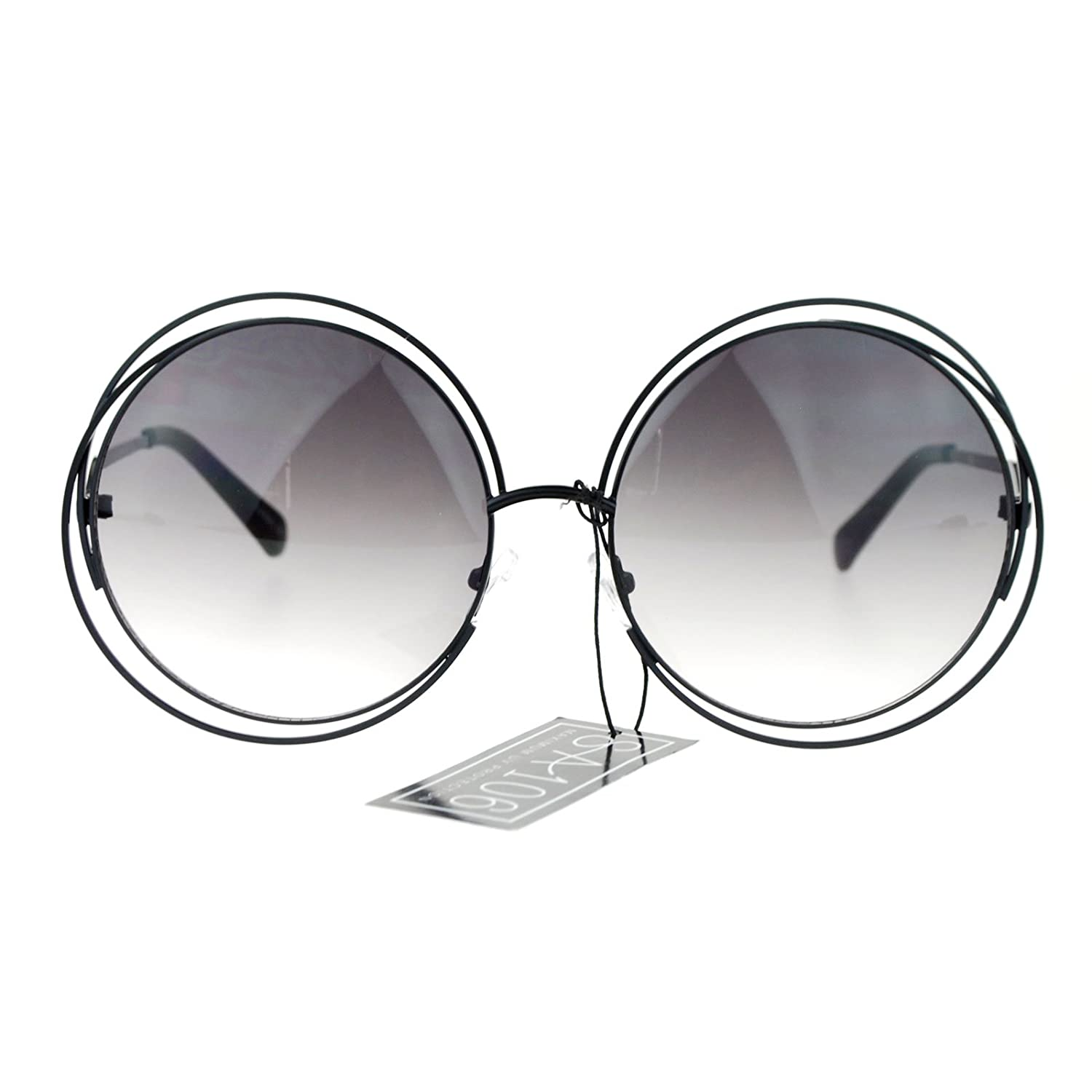 Amazon.com: Womens Round Double Wire Metal Rim Oversize Circle Lens ...
