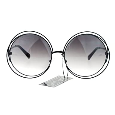 Amazon.com: Womens Round Double Wire Metal Rim Oversize Circle Lens ...