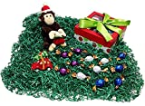 Christmas Monkey Holiday Gift Box – Godiva Gourmet Chocolate Truffles, Ceramic Light Up Christmas Tree Ornament & Plush Stuffed Animal