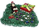 Christmas Monkey Holiday Gift Box - Godiva Gourmet Chocolate Truffles, Ceramic Light Up Christmas Tree Ornament & Plush Stuffed Animal
