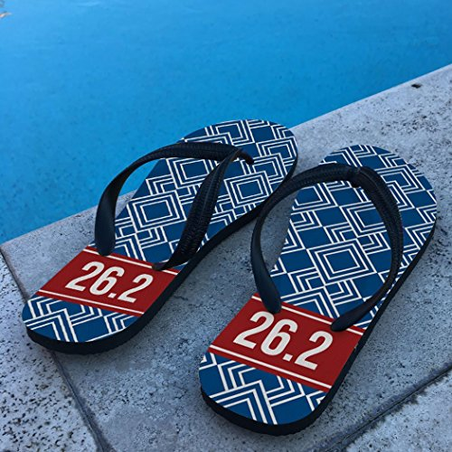 Running Flip Flops Diamond Pattern With Ribbon 26.2 Navy zCzUeEb