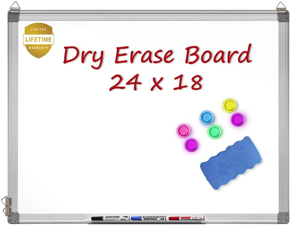 Magnetic Whiteboard, 24 X 18 Inches Magnetic Dry Erase Board with 1 Dry Eraser, 3 Dry Erase Markers, Silver Aluminum Frame, Excellent for Office and Home
