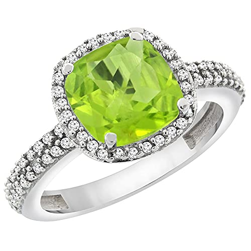 14K White Gold Natural Peridot Cushion 8×8 mm with Diamond Accents, sizes 5 – 10