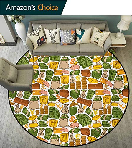 RUGSMAT Money Area Rugs Traditional Design,Colorful Symbols of Richness Wallet Credit Card Icons of Money Dollar Pound Signs Round Shape Area Rugs Rug Large Round Rugs,Round-63 Inch ()