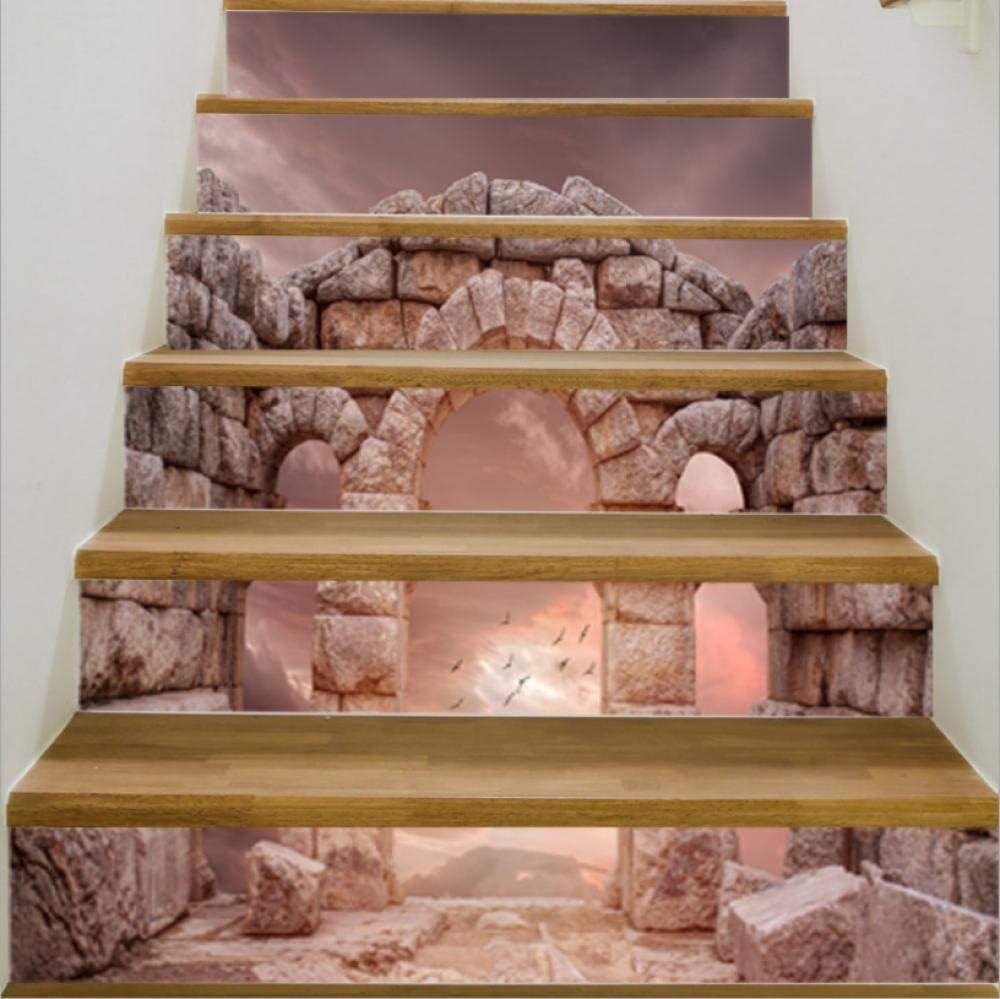 Etiqueta De La Pared 3D De La Antigua Ciudad De Piedra Pegatinas De Escaleras Restauradas De Bricolaje Papel Autoadhesivo Impermeable Para La Decoración Del Hogar