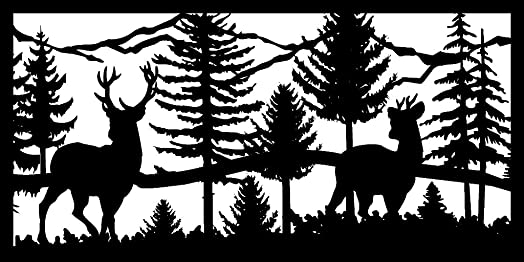 AJD Designs Metal Animal Silhouette Balcony Panel 30 X 60 Two Bucks River Mountains Metal