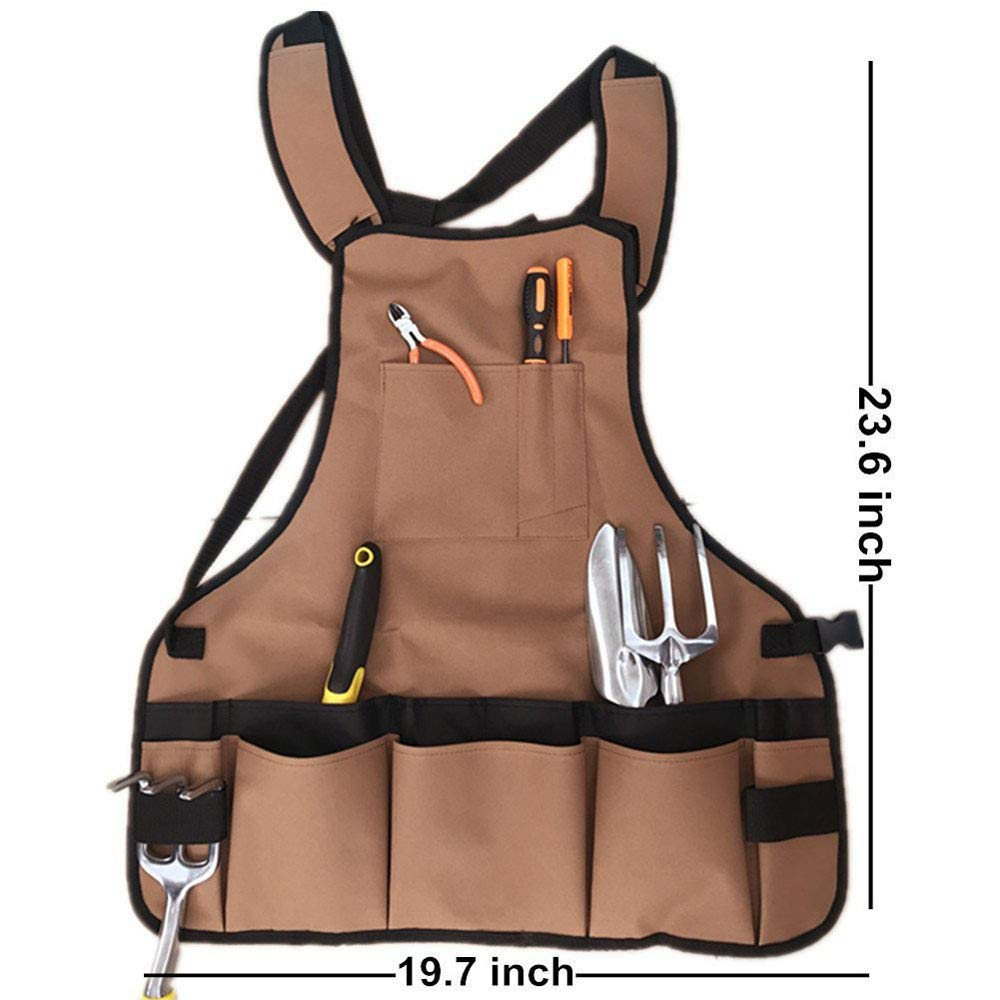 Garden Tool Apron Heavy Duty Work Woodshop Canvas Apron with 14 Pockets Adjustable Multifunction Waterproof Gardening Utility Aprons for Men Women Carpenters Bakers Machinists