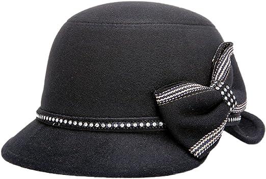 Dosige Mujer Vintage Sombrero Gorra Redondo Bowler Cloche Bombín ...