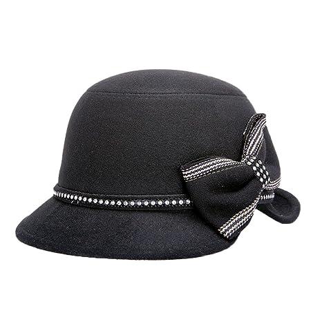 Dosige Mujer Vintage Sombrero Gorra Redondo Bowler Cloche Bombín Invierno  Visera Curvada Bowler Hat (Schwarz d3440c87cf2