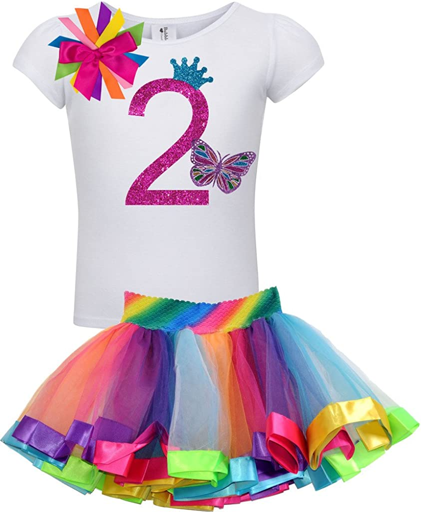 Toddler Kids Girls Dress Clothes White T-Shirt Stripe Rainbow Tutu Skirt Party Pricess Dress
