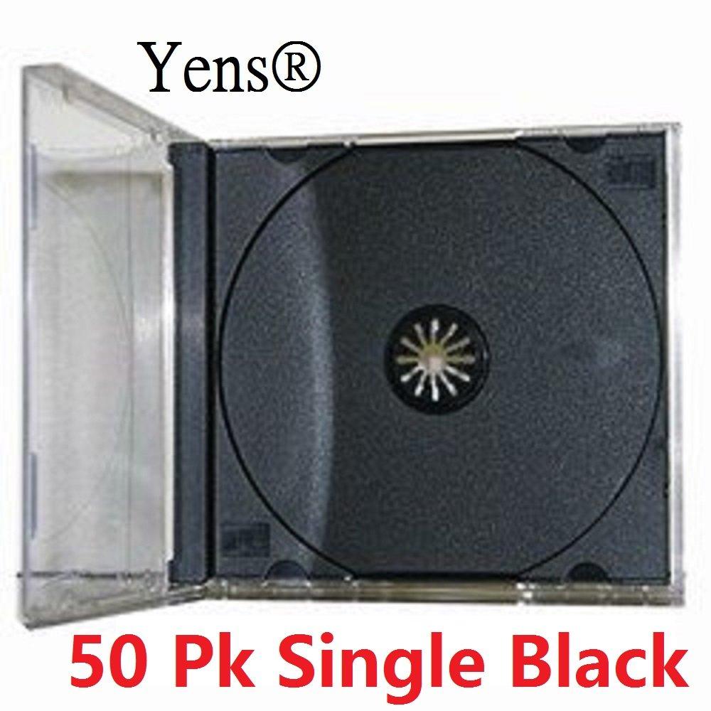Yens Standard CD Jewel Case Assembled, Black, 50 Piece