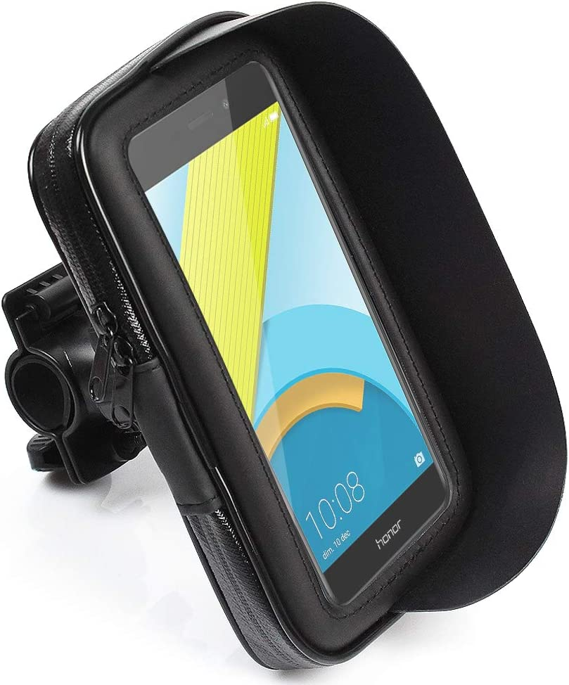 CLM-Tech Bicicleta Soporte para hasta 5.5 Pulgada Teléfono móvil, Impermeable Motocicleta Smartphone Soporte, Negro, Cuero sintético Bolsa: Amazon.es: Electrónica