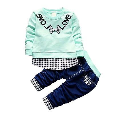 daqinghjxg Full Sleeve T-Shirt+Pants 2pcs Cotton Suits Children Clothing Sets Toddler Tracksuits