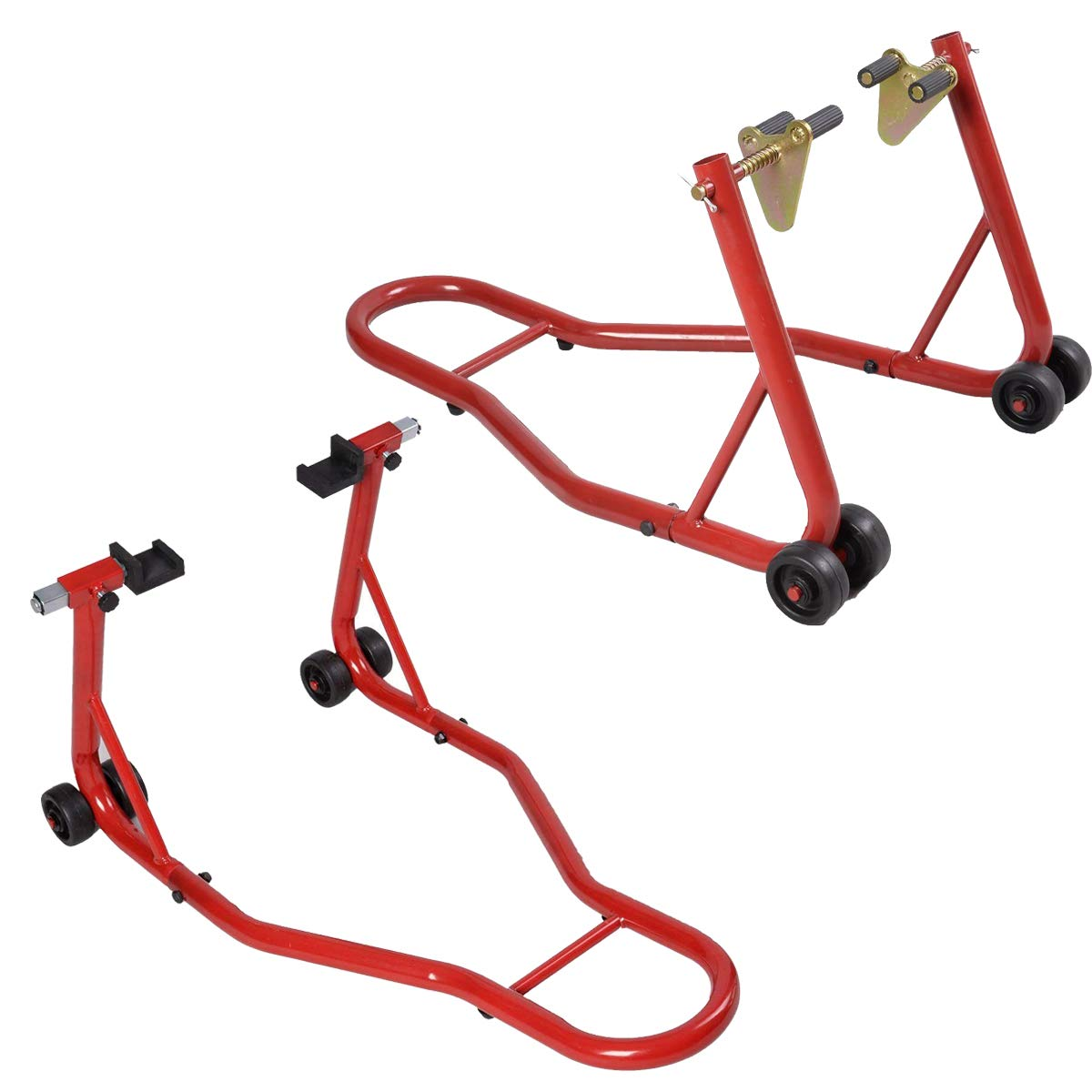 Goplus Motorcycle Stand Front Wheel Lift Fork Swingarm Stands Paddock Stands Forklift Auto Bike Shop Red, Front Stand