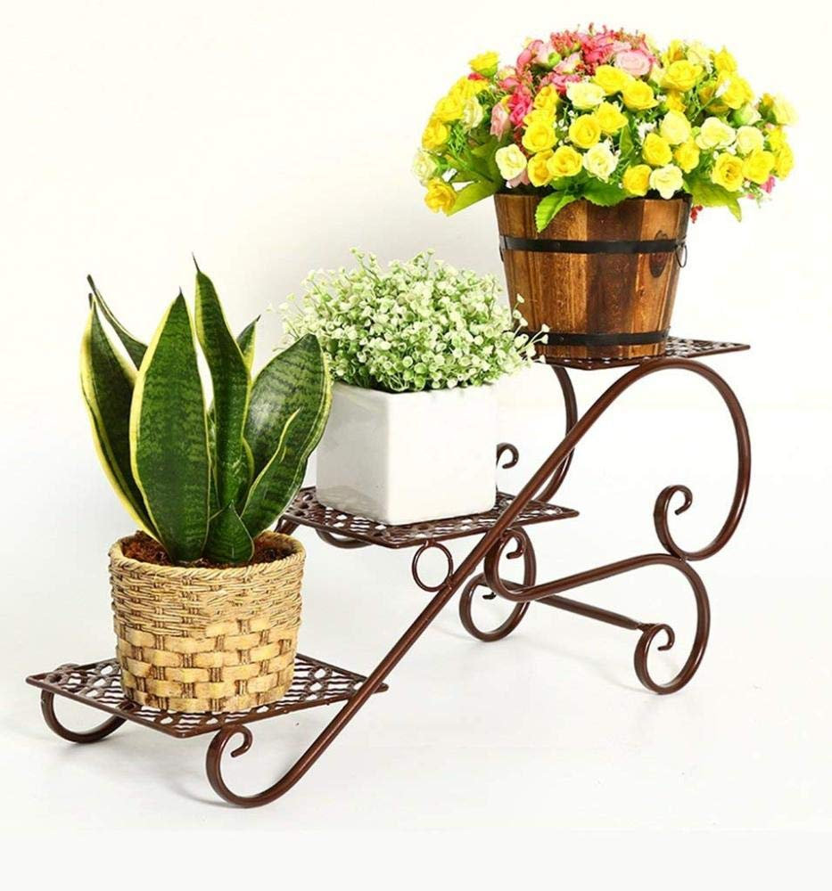 Iron Flower Stand, European Multi-Layer Balcony Flower Stand Living Room Pot Rack Floor-Standing Office Inside and Outside QiXian