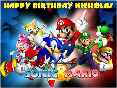Enjoyable A4 Sonic The Hedgehog Super Mario Edible Icing Birthday Cake Funny Birthday Cards Online Bapapcheapnameinfo