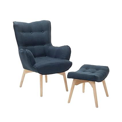 Charmant Mid Century Modern Upholstered Armchair With Ottoman Set Dark Blue Vejle