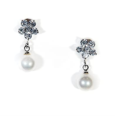 Pearl Stud Earrings Silver Crystal Bride Bridesmaid Wedding Mother of the Bride Ivory Camilla lEUBS