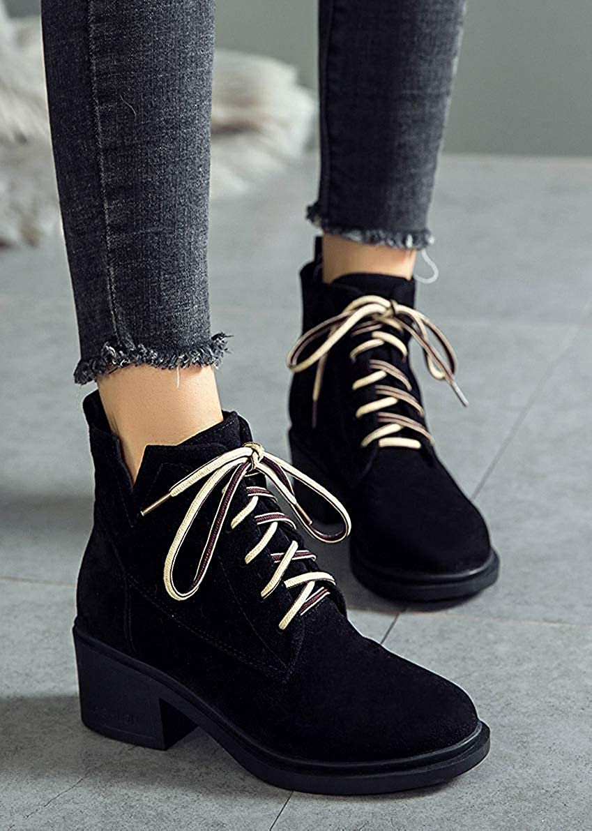 Unm Womens Comfortable Lace Up Round Toe Booties Cutout Chunky Mid Heel Ankle Boots
