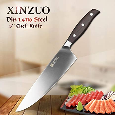 Amazon.com: Cuchillo de chef de 7.9 in GERMAN DIN1.4116 ...