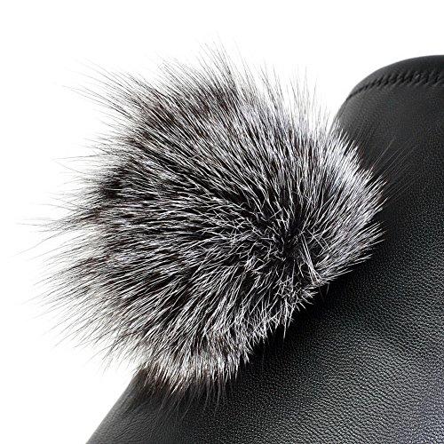 Amoonyfashion Dames-kitten-hakken Ronde Gesloten Teen Blend Materialen Laarzen Boven De Knie Zwart