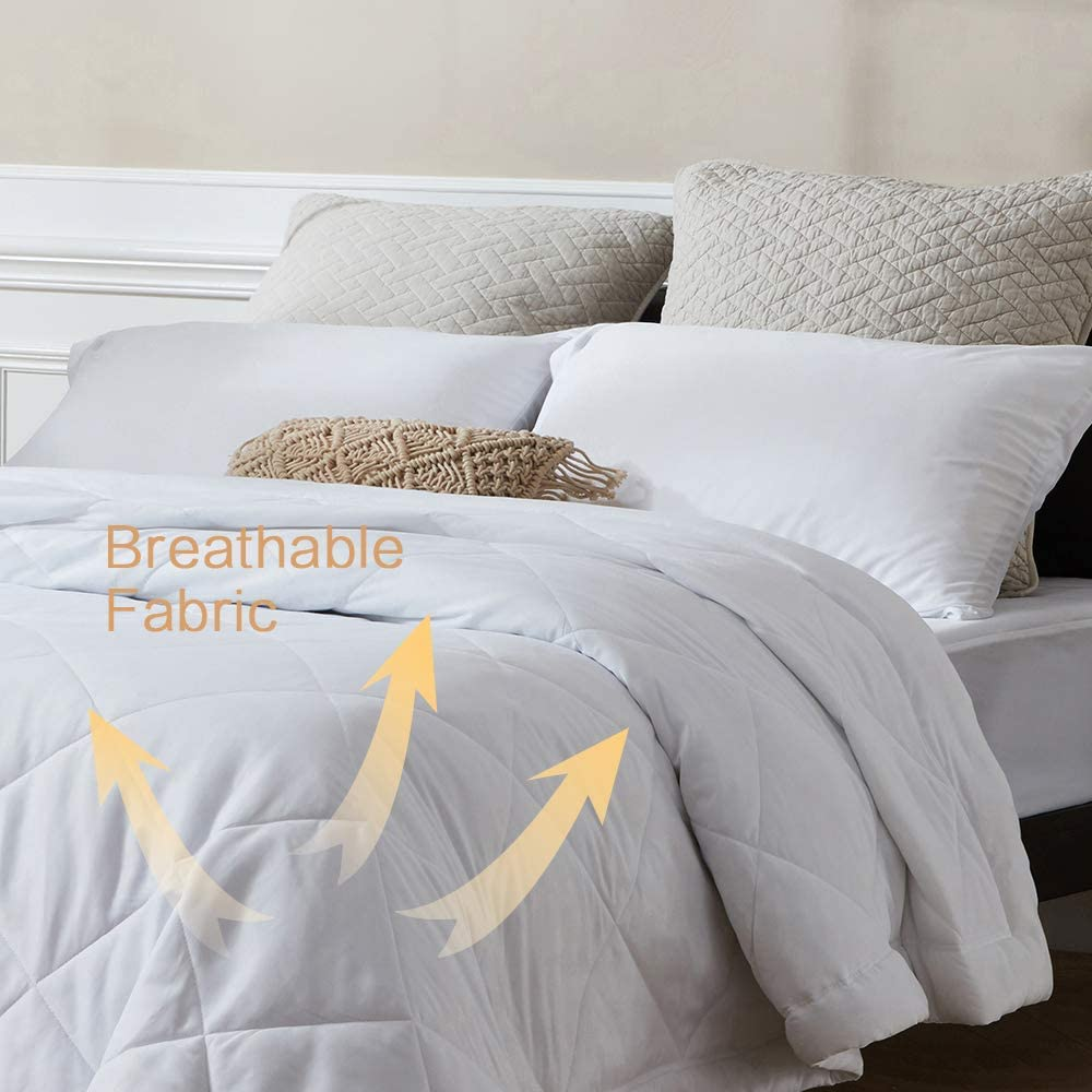Lightweight Thin Comforter for Summer and Spring SunStyle Home Bed Quilt King Size Bedspread Soft Cozy Quilted Blanket Bedding 108x90, White