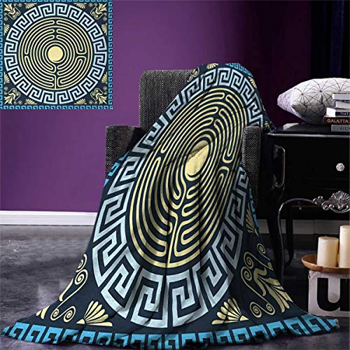 Greek Key Digital Printing Blanket Yellow and Blue Labyrinth Pattern from Ancient Culture with Floral Details Summer Quilt Comforter 80
