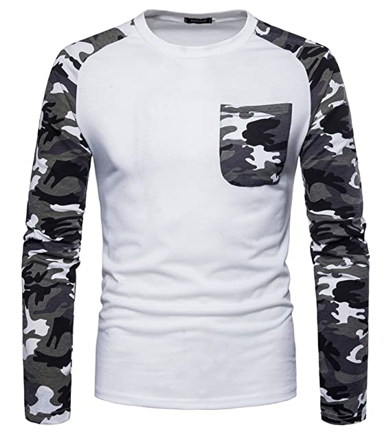 MISSMAO Camiseta Casual Para Hombre Camiseta Manga Larga de Camuflaje con Cuello Redondo Blusa de Bolsillo XHBEG1