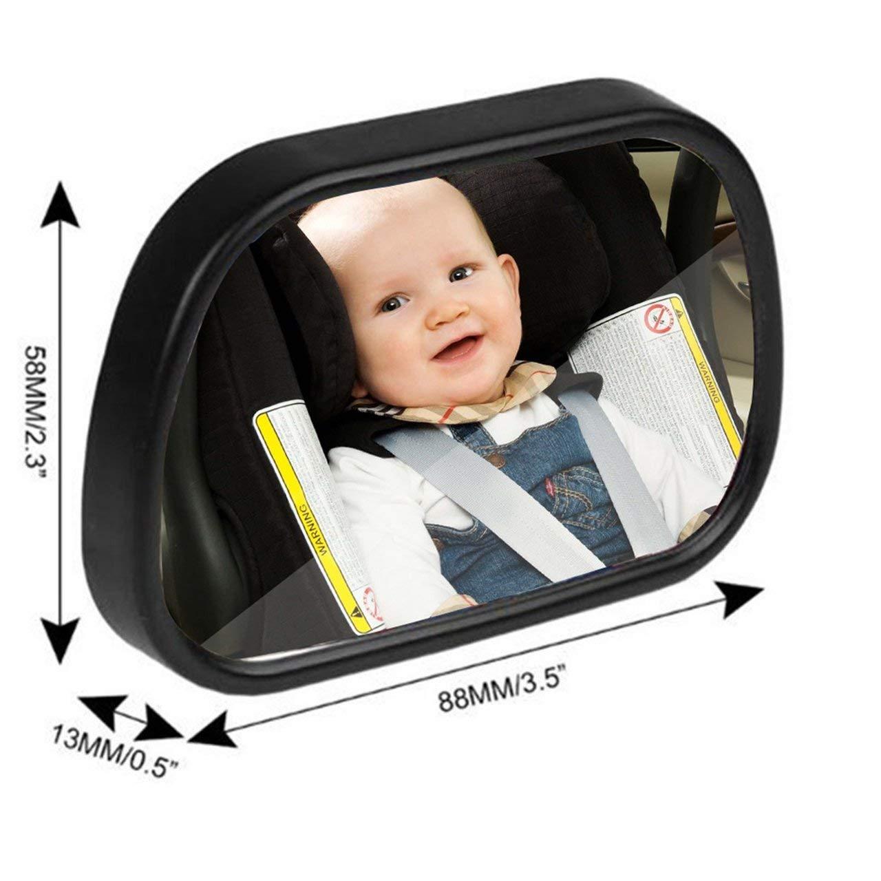 schwarz Jasnyfall 2 in 1 Universal Einstellbare Kunststoff R/ückspiegel Autositz f/ür Baby Kindersicherheit Mit Clip und Saugnapf