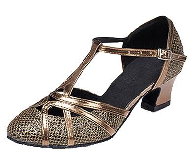 TDA Womens Cross Strap Mid Heel Satin Latin Salsa Ballroom Dance Shoes  8WO3ELPWS