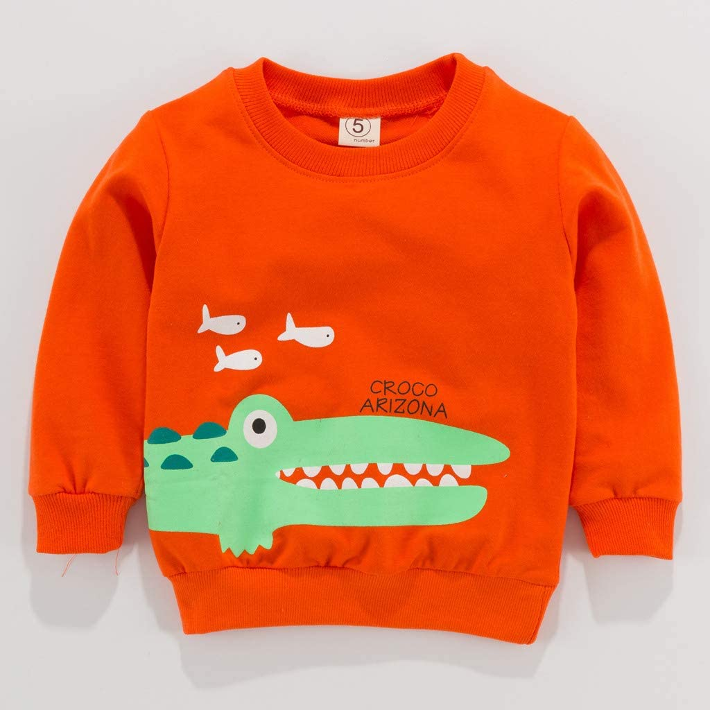 LNGRY Baby Clothes,Toddler Kids Girls Boys Cartoon Crocodile Panda Carrot Letter Printed T-Shirt Tops Clothes