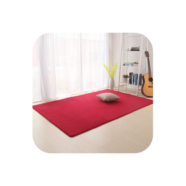 Fun-Store Camo Fleece Solid Color Carpet for Living Room Kitchen Bathroom Kids Room Pad Anti-Skid Machine Wash Mats,Wine,80X160cm