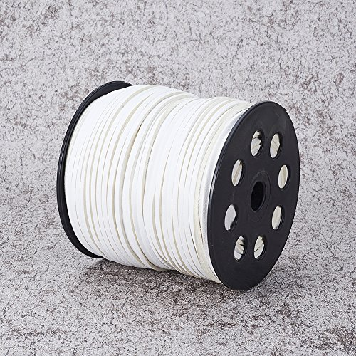 NBEADS 2.7mm 98 Yards/Roll White Color of Lace Flat Faux Suede Leather Cord, One Side Covering with Imitation Leather Beading Thread Cords Braiding String for Jewelry Making