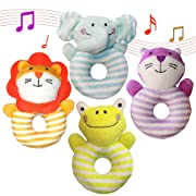 AMINORD 4PCS Soft Rattle Baby Toys, Developmental Toy for 3, 6, 9, 10, 12 Month Newborn Infant - Elephant, Lion, Frog, Cat