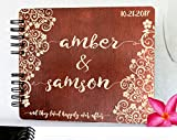 Personalized Ever After Flower 8.7x7 Wooden Guest Book Custom Bridal Shower Book for Bride Husband Wife Anniversary Guestbook Newlyweds Custom Mahogany Stain Advice Book