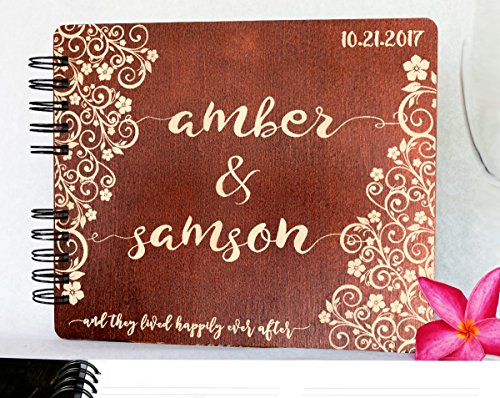 Personalized Ever After Flower 8.7x7 Wooden Guest Book Custom Bridal Shower Book for Bride Husband Wife Anniversary Guestbook Newlyweds Custom Mahogany Stain Advice Book by Weddings-by-StockingFactory (Image #4)