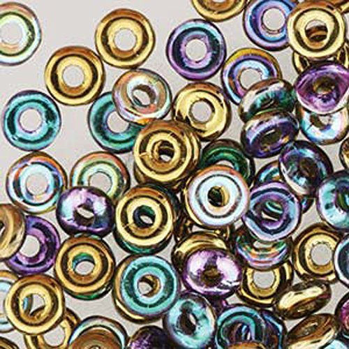 (Crystal Gold Rainbow O-beads 3.8x1mm (Czech Glass Mini Flattened Ring) Sold in Approx 8.1 Gram Tube)