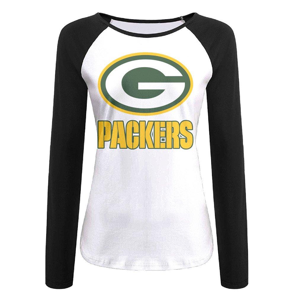 Creamfly Womens Green Bay Football Team Long Sleeve Raglan Baseball Tshirt