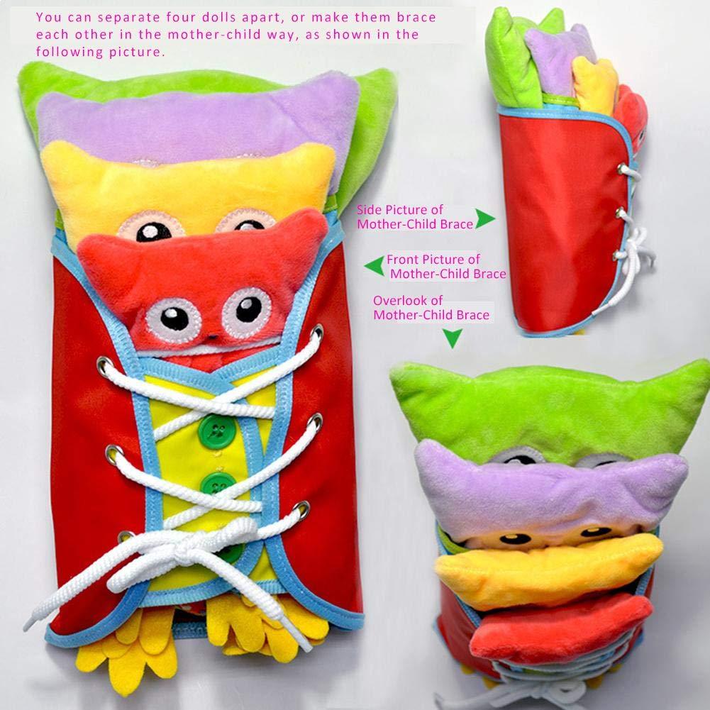 zip snap B/éb/é Jeu Educatif Apprentissage Habiller en peluche hiboux poup/ée jouets dapprentissage /éducation pr/écoce base comp/étences de base enseignement jouets pour tout-petits-dentelle bouton