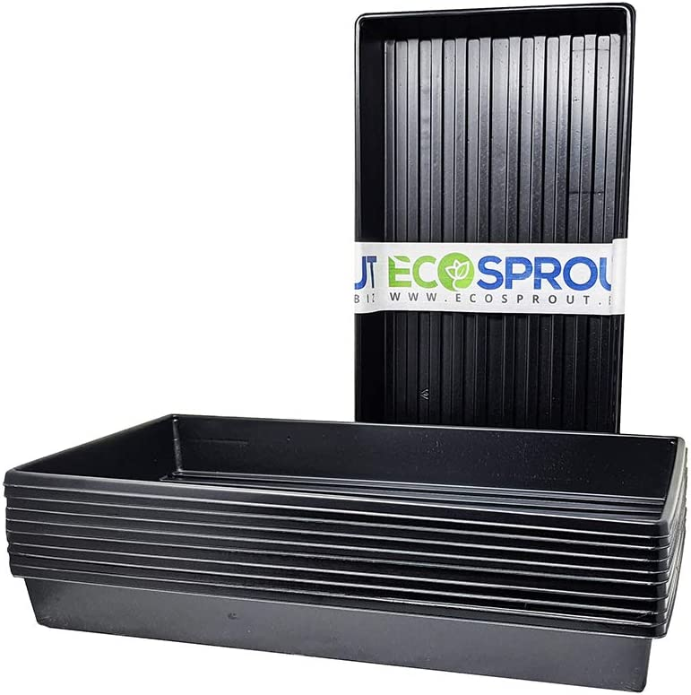 1020 Heavy Duty Seed Starter Trays (10 Pack); No Drain Holes, Holds Up to 50 lbs; Sturdy, Lightweight; Designed for Seeds, Seedlings, Cloning, Indoor Gardening, Sprouts, Herbs, and Microgreens