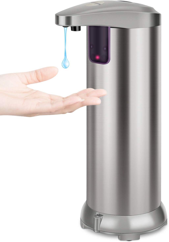 XCAI Dispensador Automático de Jabón con Acero Inoxidable, Sensor de Movimiento por Infrarrojos, Base Impermeable, Interruptor Ajustable, Baño Apropiado, Cocinas, Hotel, Restaurante