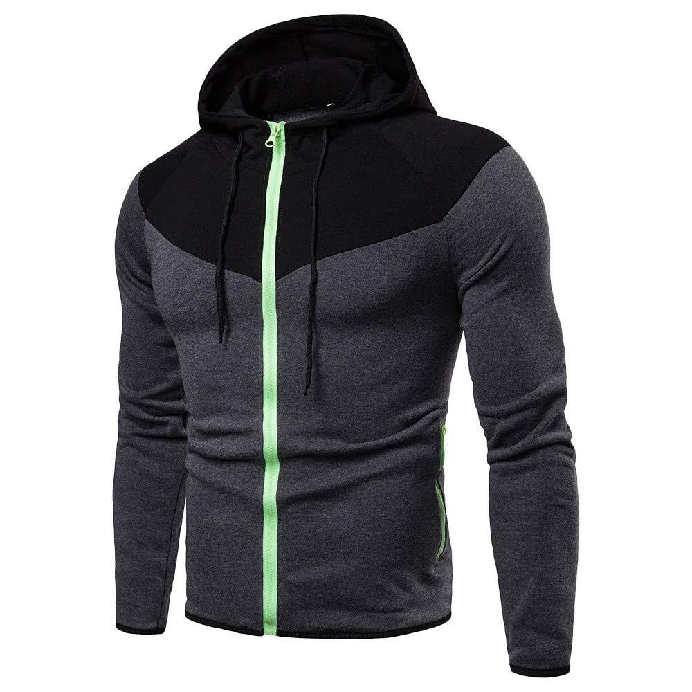 GREFER Men's Hoodies Sweartshirt Long Sleeve Patchwork Full Zip Top Tracksuits Dark Gray by GREFER