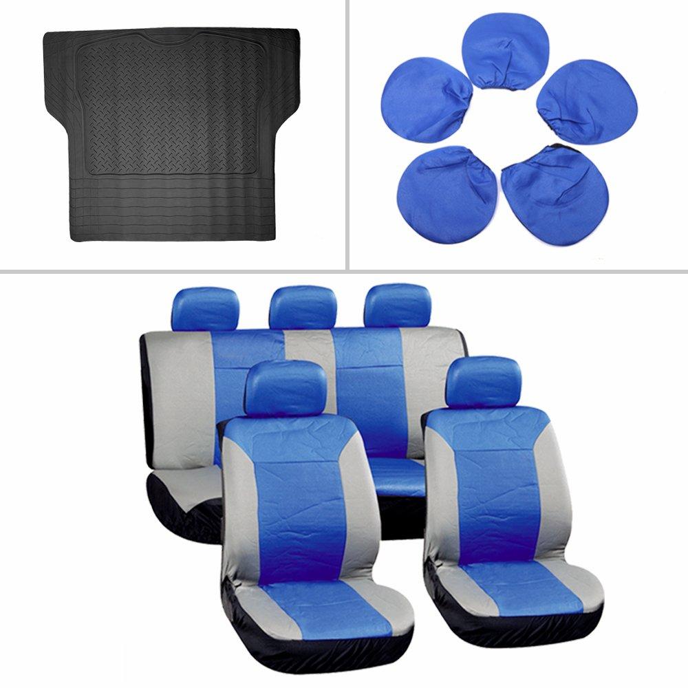 車シートカバートランクライナーフロアマットフィットHeavy Duty Vans Trucks (10個) 800943-5211-1307539001 B07CL8ZSV8  ブルー/グレー