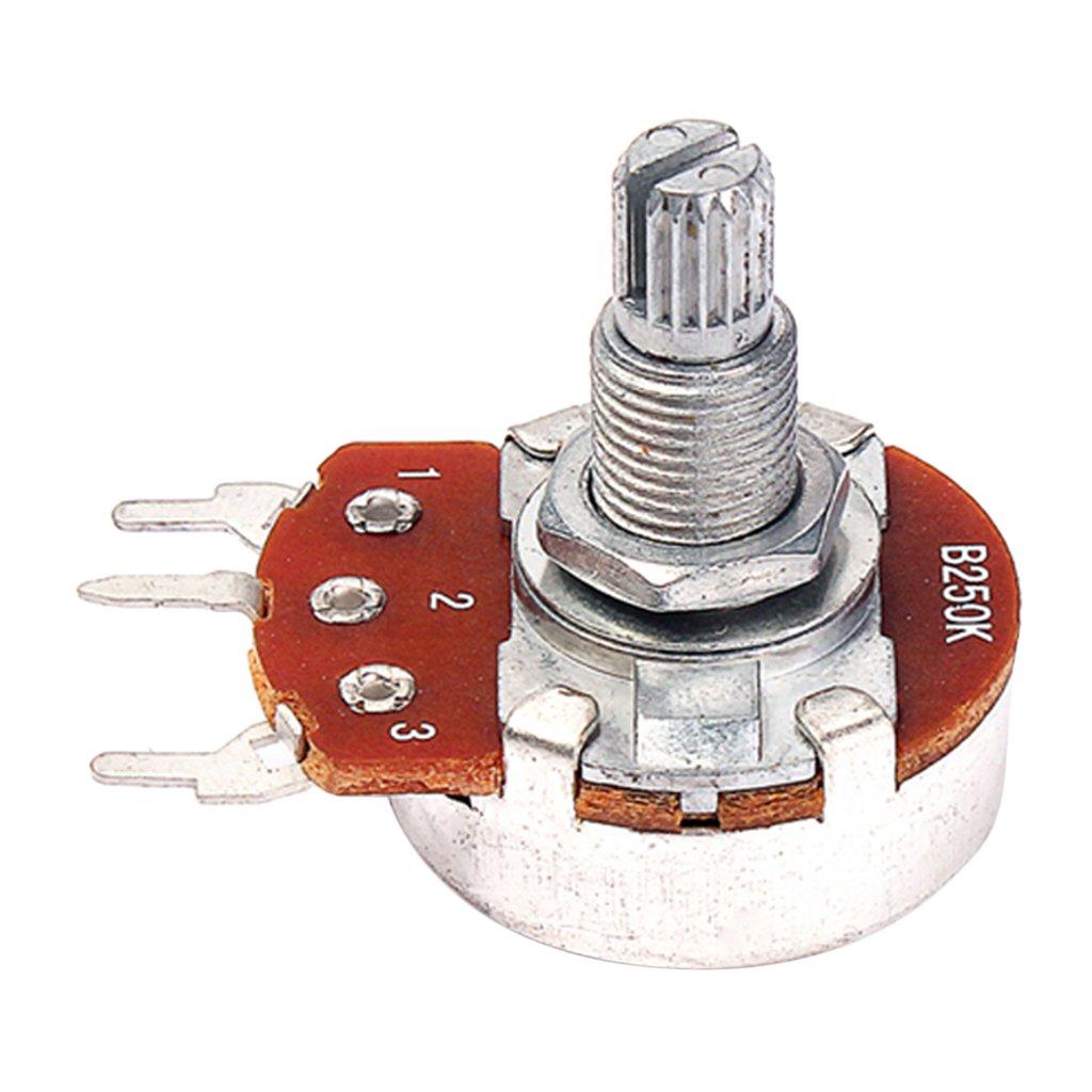 MonkeyJack 10 Pieces B250K Potentiometer Mini Guitar Push Pots 18mm Split Shaft for Electric Guitar Parts