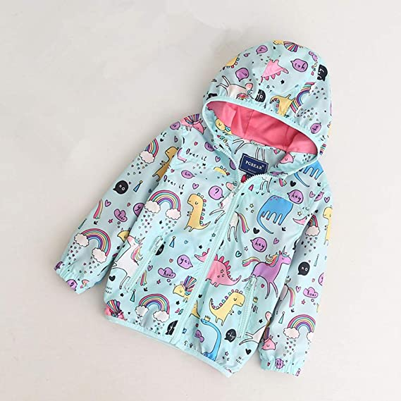 CX.AZUL Toddler Girls Cartoon Unicorn Autumn Rain Coat Jacket Hoodies