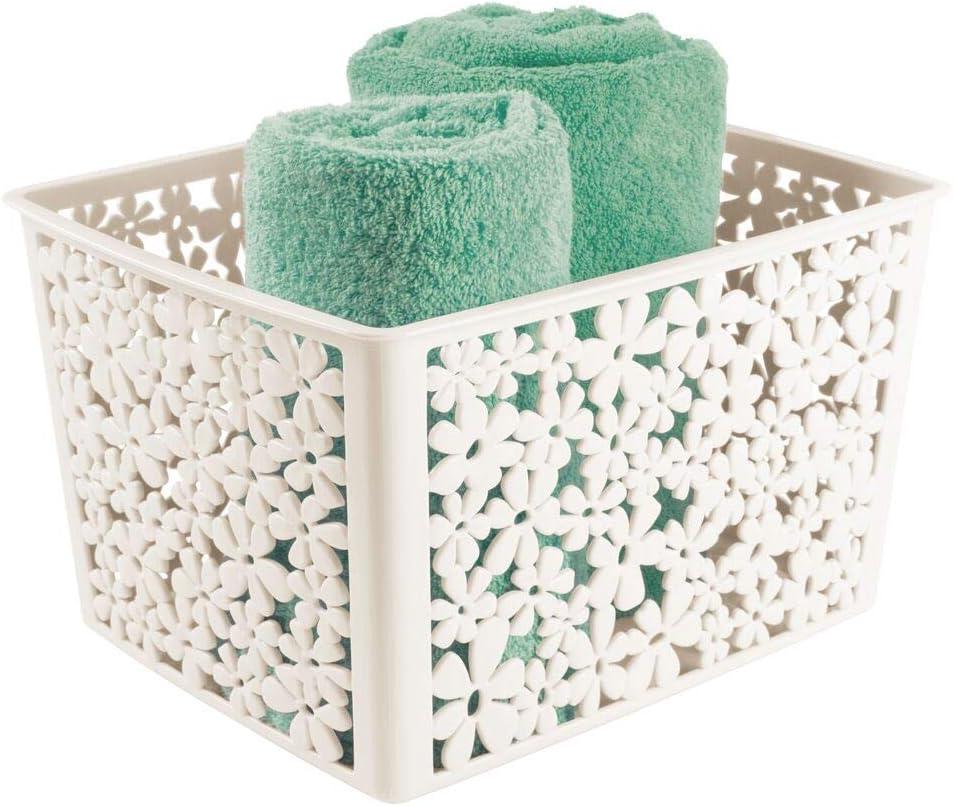 mDesign Práctica caja organizadora – Divertido contenedor plástico para el cuarto de baño – Guardatodo de plástico con diseño de flores – color crema