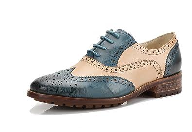511ec3b0ca U-lite Beige Blue Perforated Brogue Wingtip Leather Flat Oxfords Vintage  Oxford Shoes Women bb