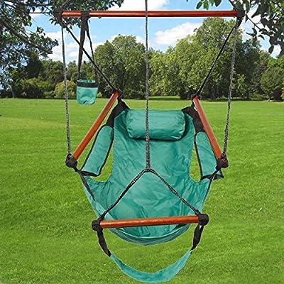 Hammock Hanging Chair Air Deluxe Sky Swing Outdoor Chair Solid Wood 250lb GREEN : Garden & Outdoor