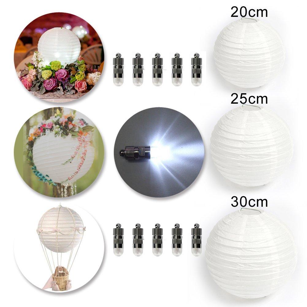 Lanterna cinese di carta con LED, decorazione per matrimonio/casa/natale/festa, set di 10 pezzi, bianco, 20 cm Dazone