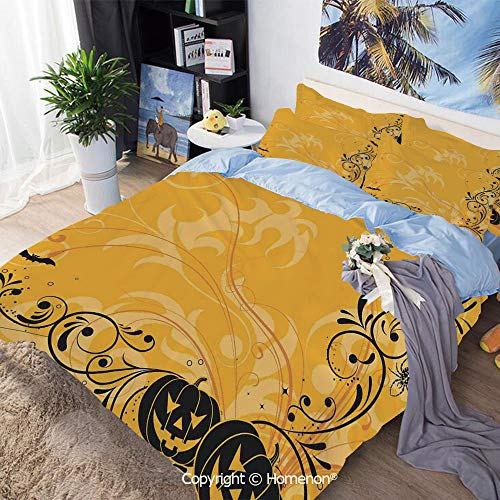 Home Fashion Designs 3-Piece Set,Carved Pumpkins with Floral Patterns Bats and Webs Horror Artwork,Full Size,Hypoallergenic,Cool Breathable,Orange Black]()
